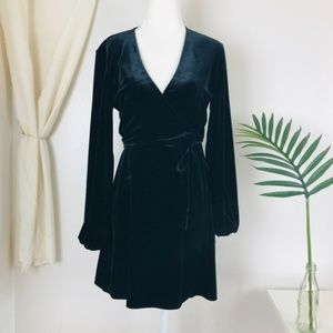 Zara Black Velvet Long Peasant Sleeve Wrap Dress